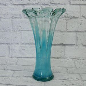 Handcrafted Handblown 12″ Vase Blue Vein Art Glass